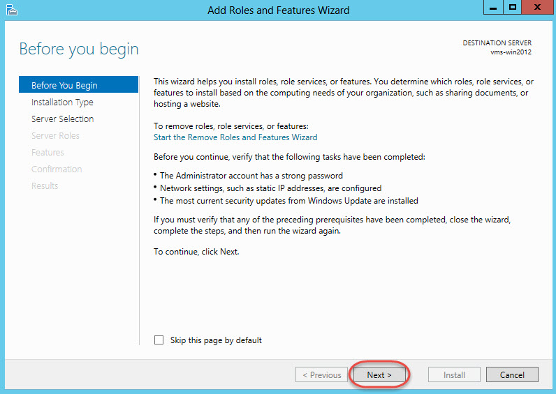 Windows Server 2012 > Add Roles and Features Wizard > Before You Begin