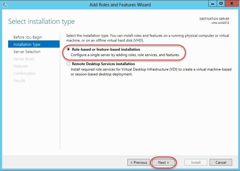 Windows Server 2012 > Add Roles and Features Wizard > Installation Type