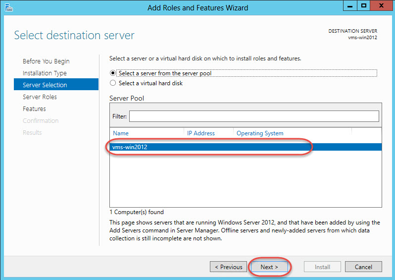 Windows Server 2012 > Add Roles and Features Wizard > Server Selection