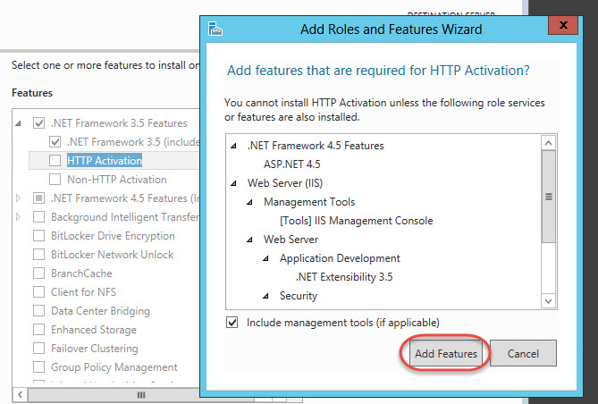 Windows Server 2012 > Add Roles and Features Wizard > .NET Framework Features Required
