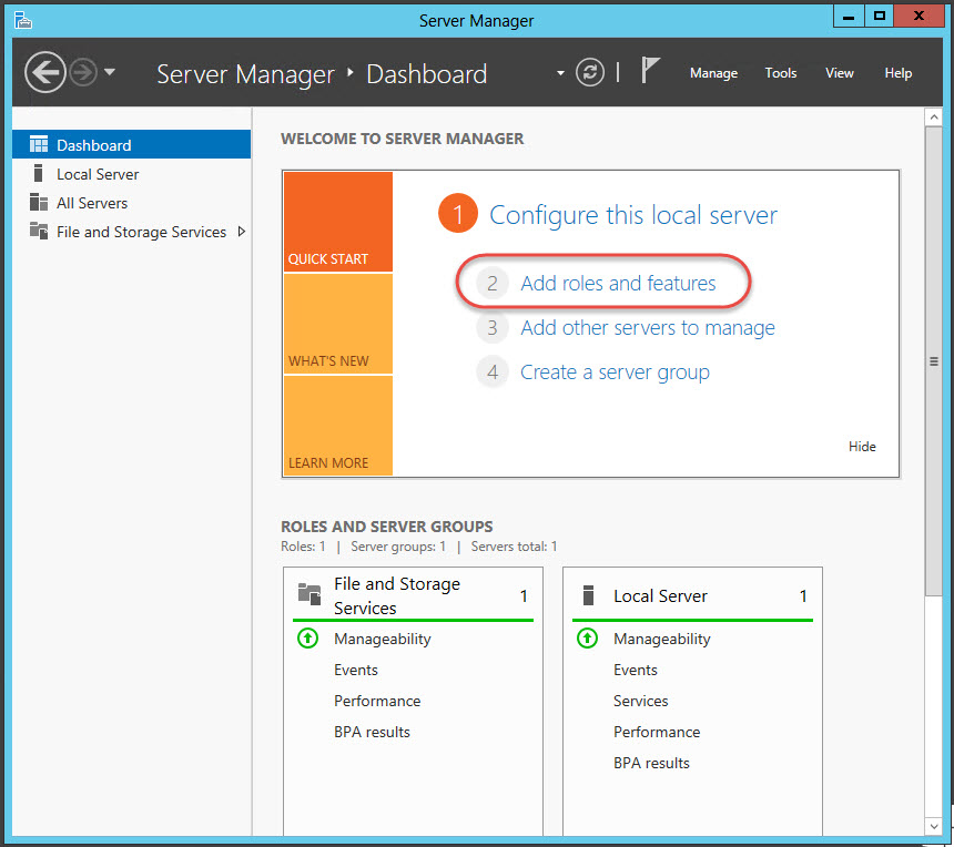 Windows Server 2012 > Server Manager > Dashboard > Add roles and features