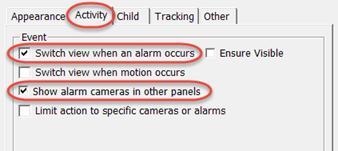 Activity tab settings