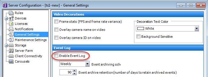 Server > Configuration > General Settings > Enable Event Log