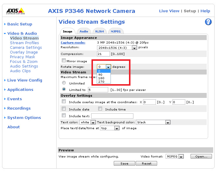 Axis camera web page, rotate video option