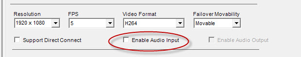 Ensure that Enable Audtio Input check box is clear. Do NOT select it.