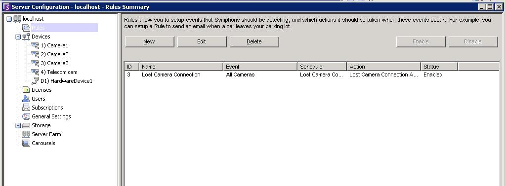Server Configuration dialog box Rules