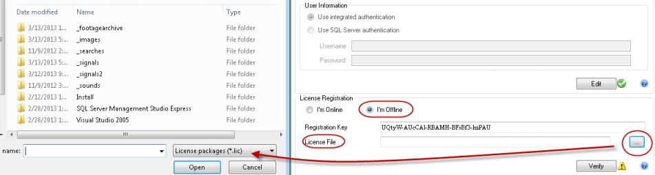 button in Setup Wizard that opens location of stored license file
