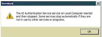 Services error message